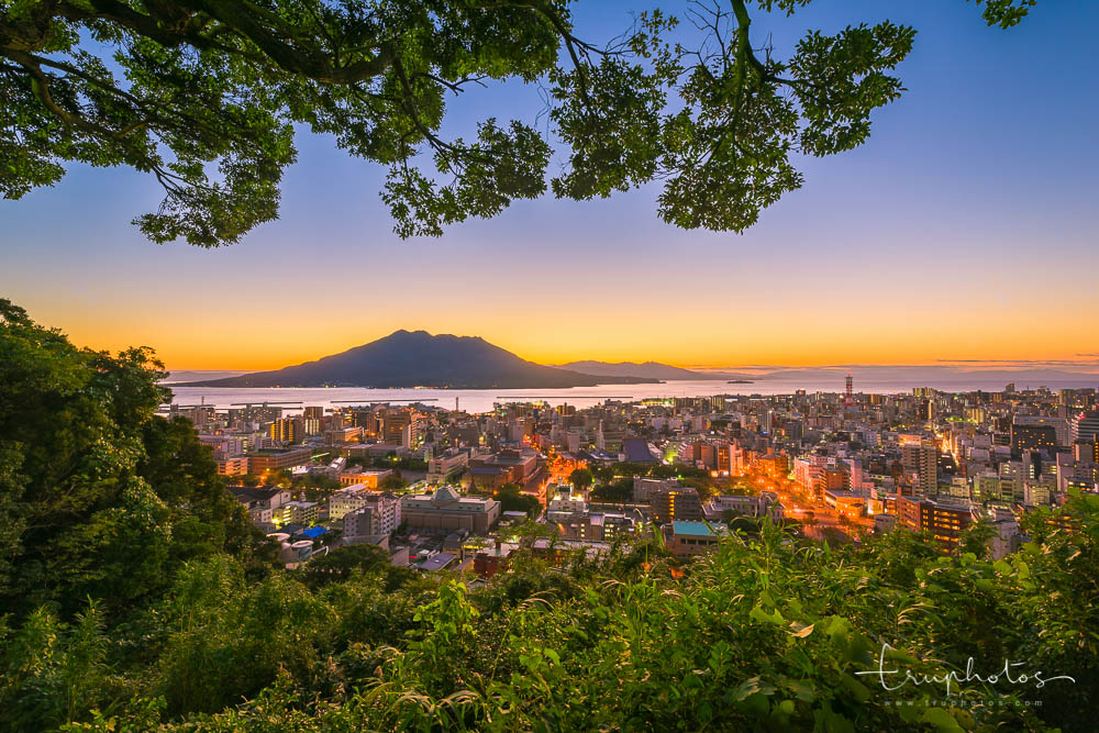 Sunrise of Mount Sakurajima and Kagoshima city, Japan