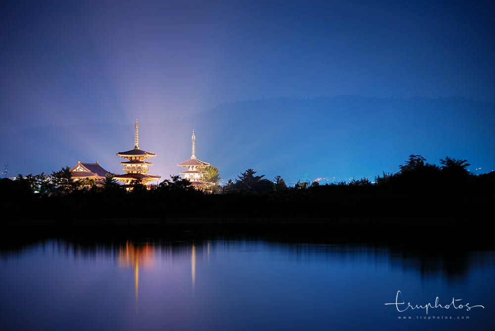 Light up of Yakushi-ji Temple during the blue hour in Nara, Japan