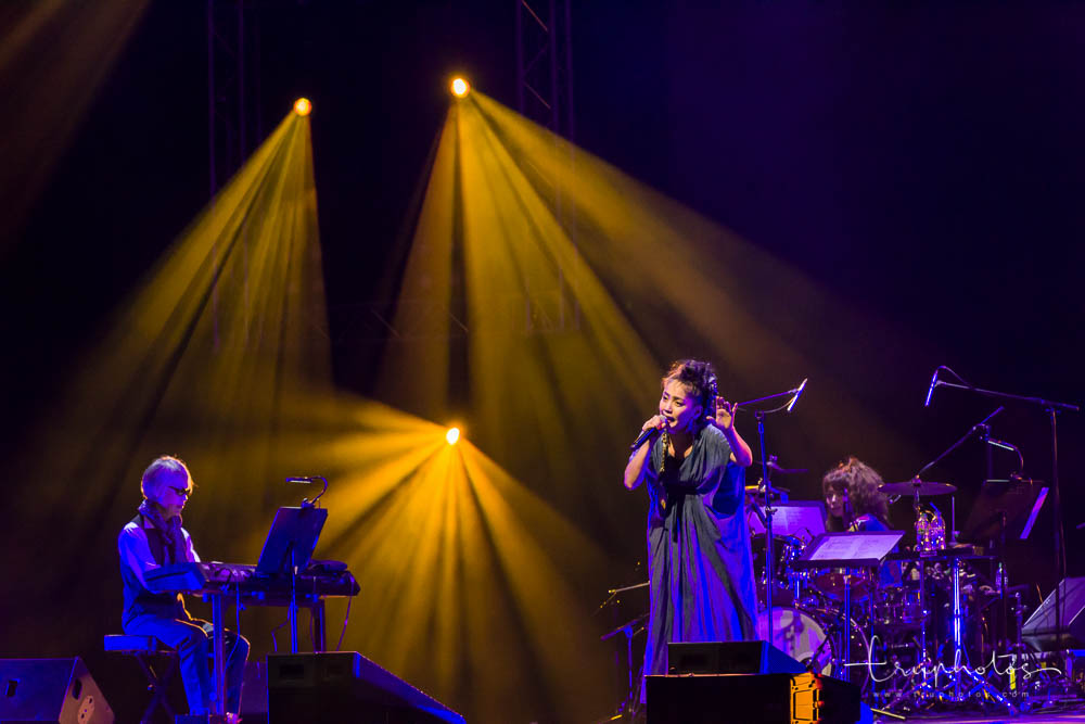 Kagoshima singer Hajime Chitose with her solo performances at her Singapore concert